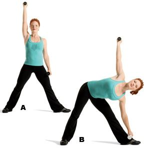 lateral bend and dumbell reach