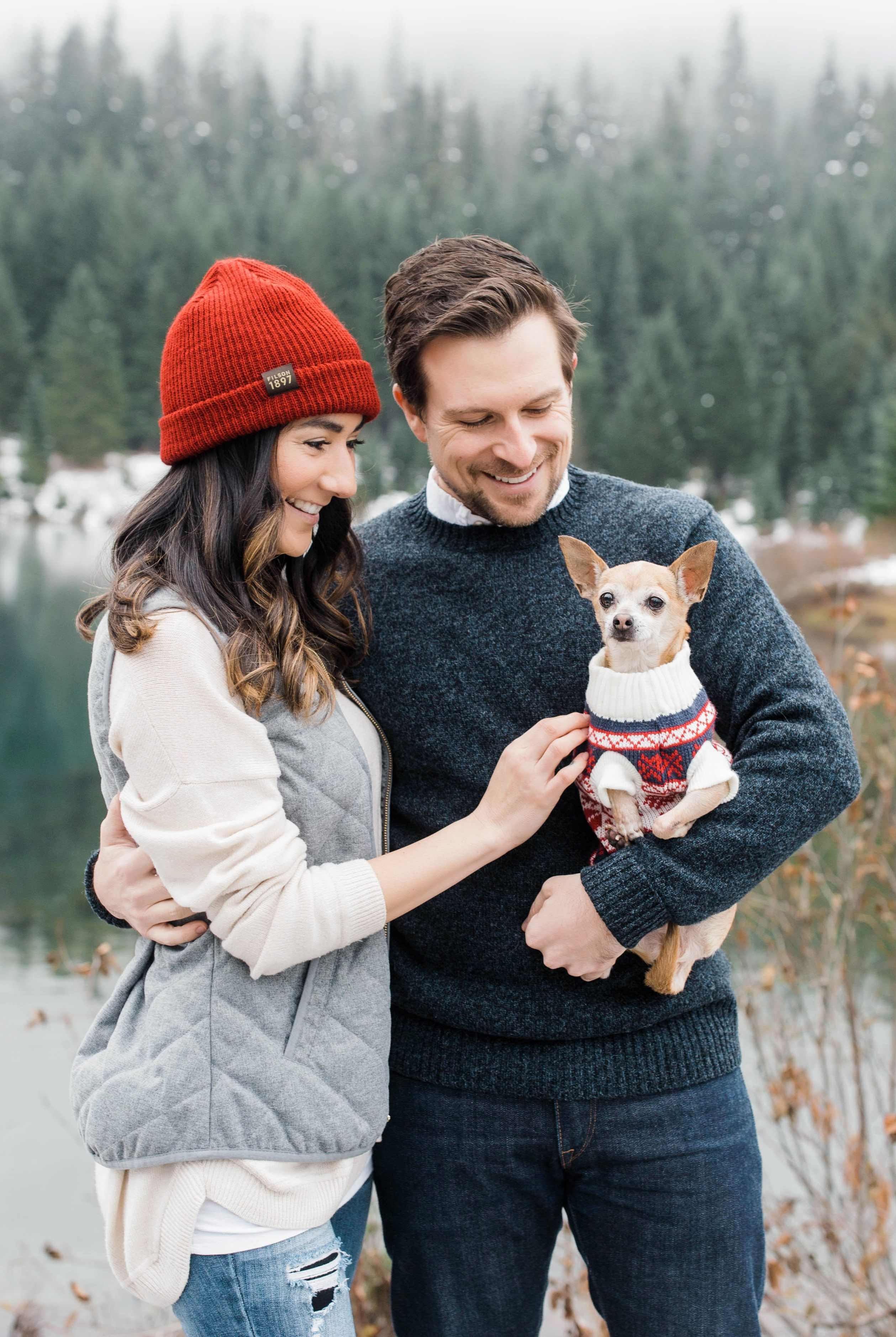 Family Photo Shoot with Dog Outside