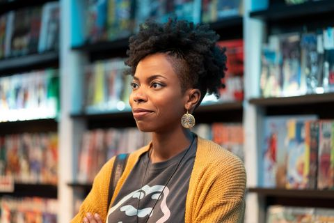 """woke    rhymes with broke""""   episode 101    when up and coming cartoonist keef knight has a traumatic run in with the police, he begins to see the world in an entirely new way ayana sasheer zamata, shown photo by joe ledererhulu"""