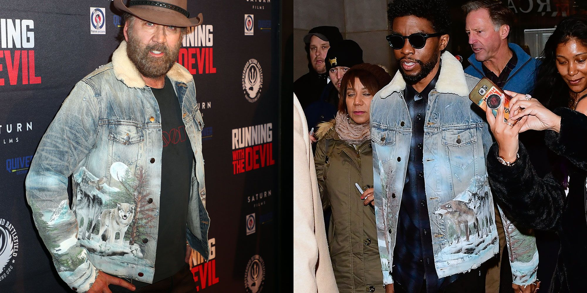 This Wolf-Covered, Airbrushed Denim Jacket Has Everything—Including Chadwick Boseman and Nic Cage's Endorsement