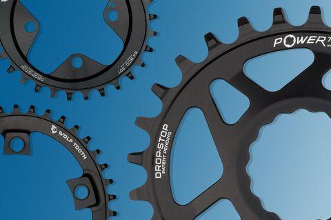 Bicycle part, Bicycle drivetrain part, Crankset, Gear, Groupset, Auto part, Derailleur gears, Metal,