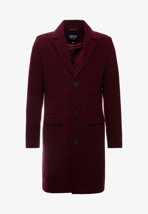 Clothing, Outerwear, Coat, Overcoat, Sleeve, Maroon, Jacket, Trench coat, Magenta, Collar,