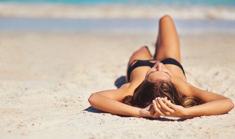 Sun tanning, Photograph, Bikini, Beauty, Beach, Summer, Leg, Skin, Lingerie, Vacation,