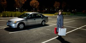 Woman alone in car park