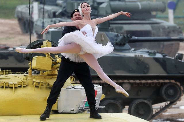 ballerina on a tank