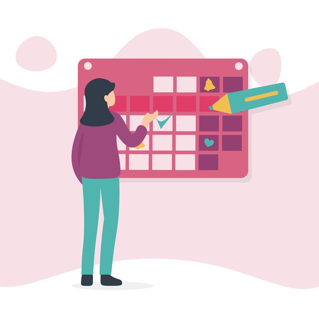 woman and calendar, marker