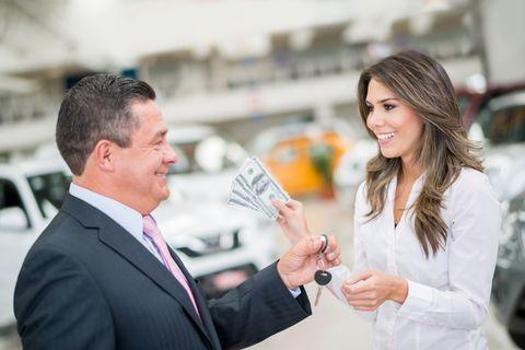 Woman buying a car