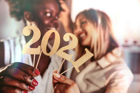 woman celebrating 2021 new year