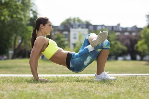 woman doing glute stretch