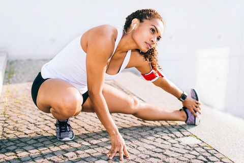 Woman doing stretching.