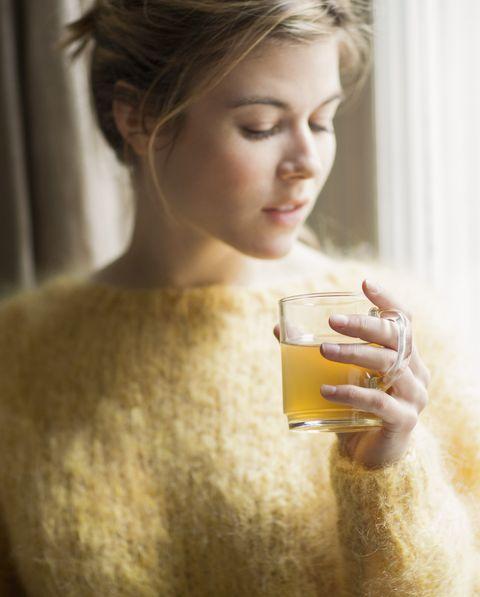 Woman drinking herbal tea