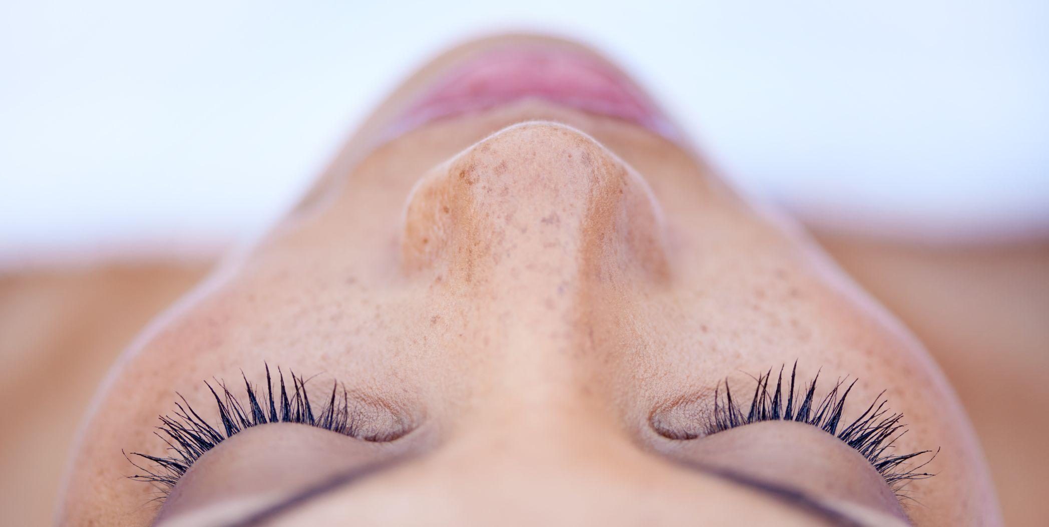 Woman face skin closeup