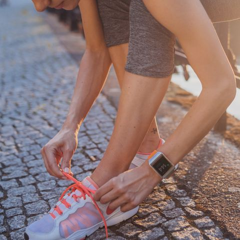 woman getting ready for running