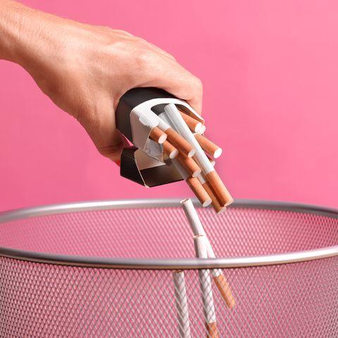 woman giving up smoking through illness