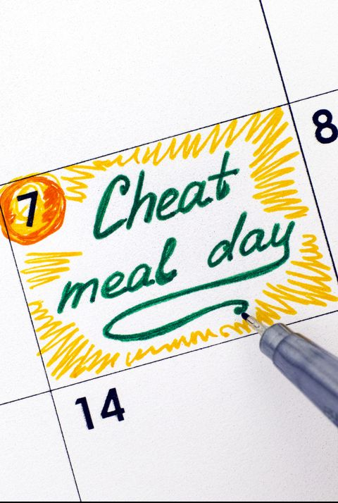 Woman hand with pen writing reminder Cheat Meal Day in calendar.