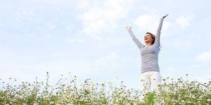 happy woman field countryside