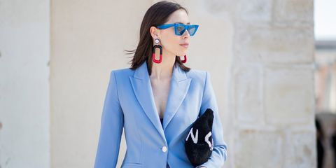 Clothing, Eyewear, Glasses, Vision care, Coat, Collar, Sleeve, Earrings, Outerwear, Style,