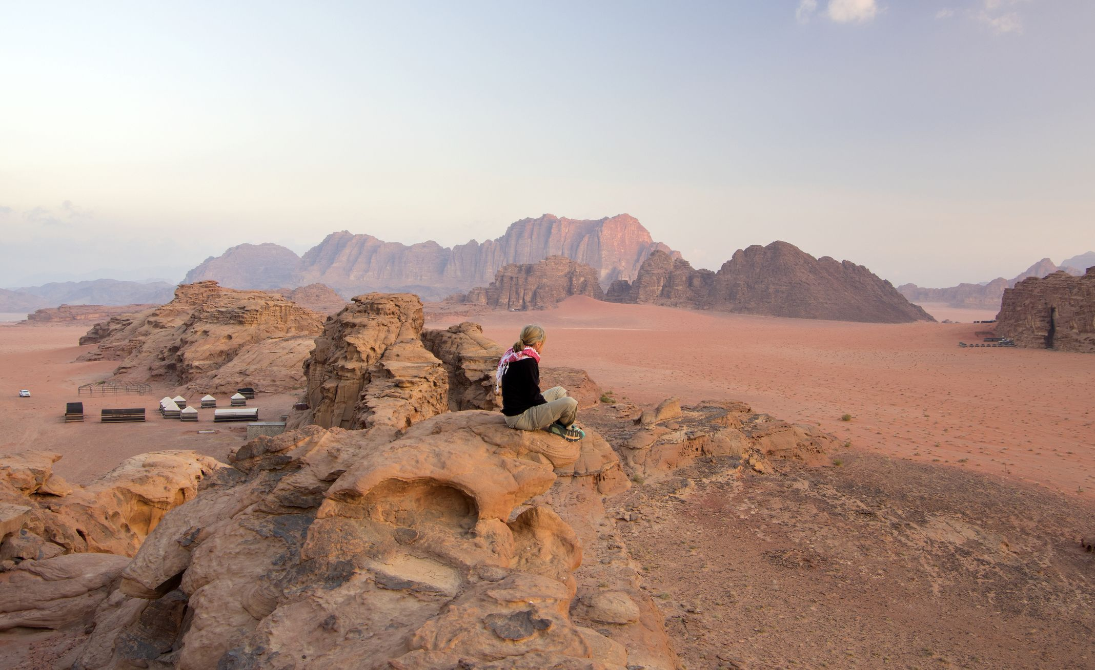 A woman in Wadi Rum, Valley of Moon, Jordan.