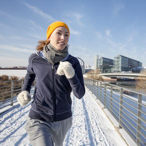 woman jogging in winter
