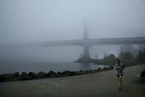 Fog Envelops New York City As Unusually Warm Weather Continues