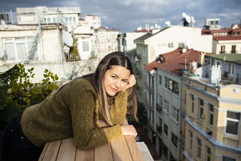 Woman on rooftop
