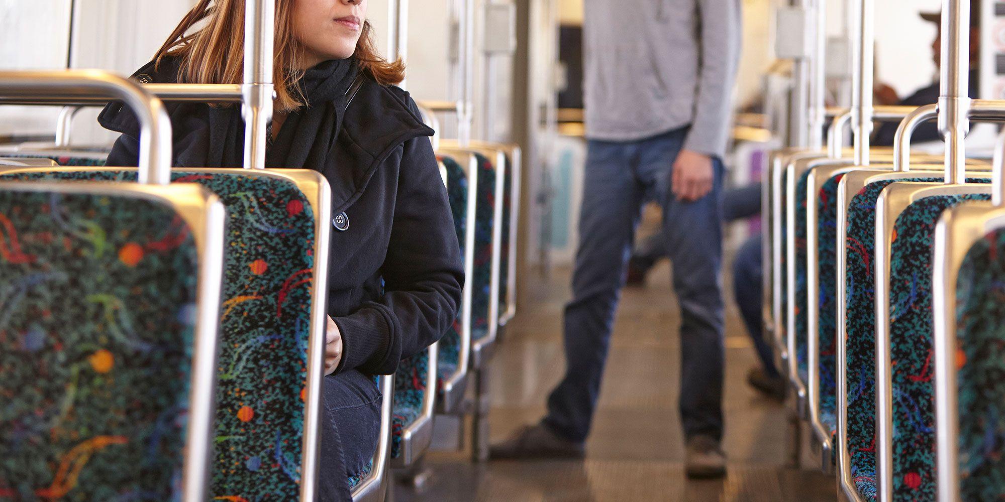 woman, train, man, commute,