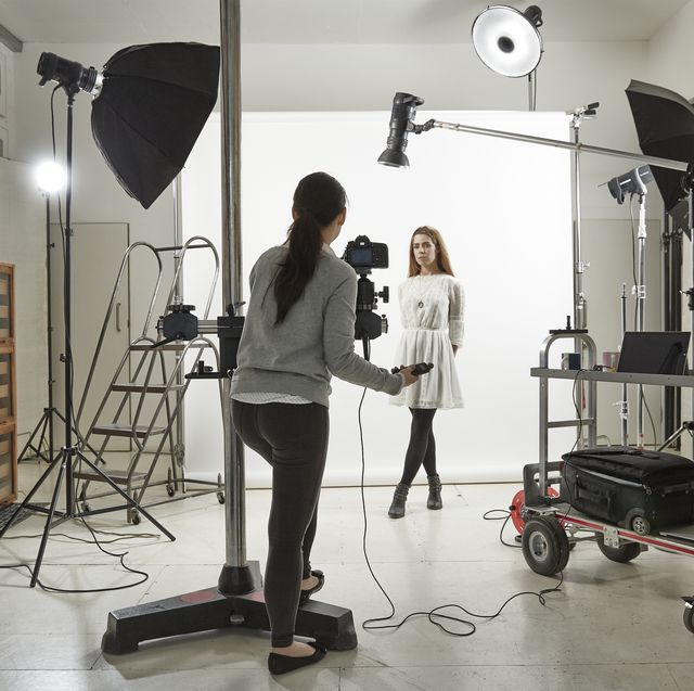 woman posing in photographic studio