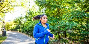 Woman running in Central Park New York