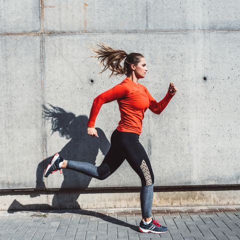 Woman running outdoors in the city
