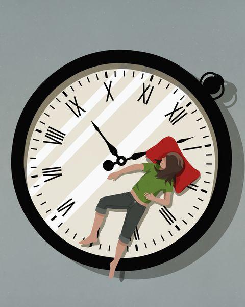 woman sleeping on pocket watch