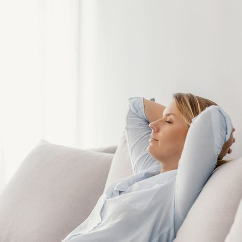Woman sleeping on vacations in an apartment