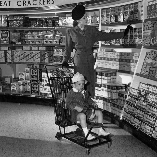 vintage photo of grocery store   woman shopping