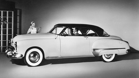 Woman & Couple In A '49 Olds Coupe