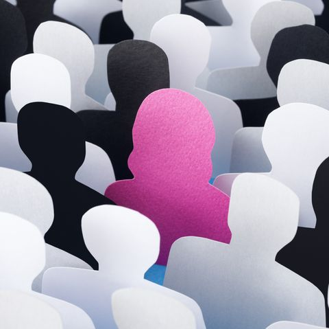 Woman standing out
