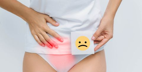 woman suffering urinary system ache , bladder pain, cystitis