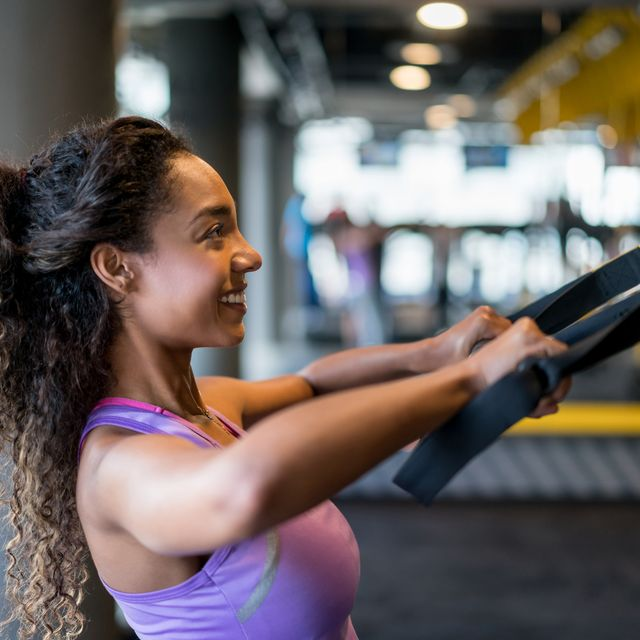 woman suspension training at the gym
