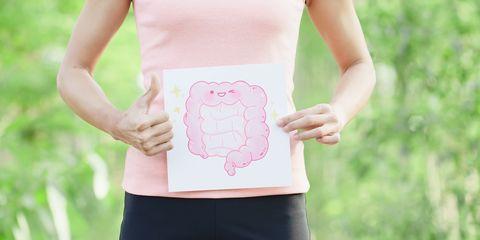 woman take intestine board