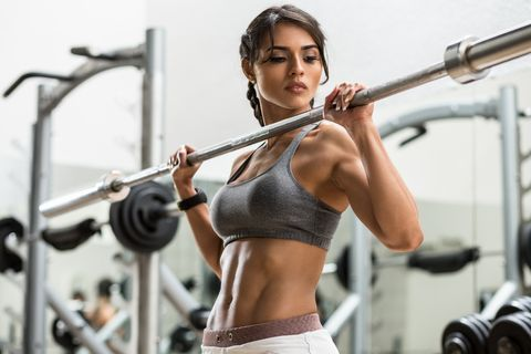 woman training with weight