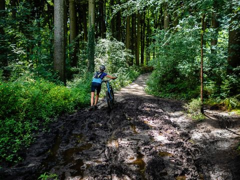 una mujer intenta atravesar un camino embarrado con su bicicleta