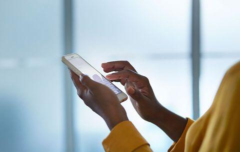 woman using smartphone social media
