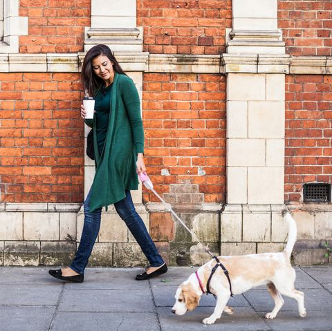 Woman walking with dog in early Sunday morning in London