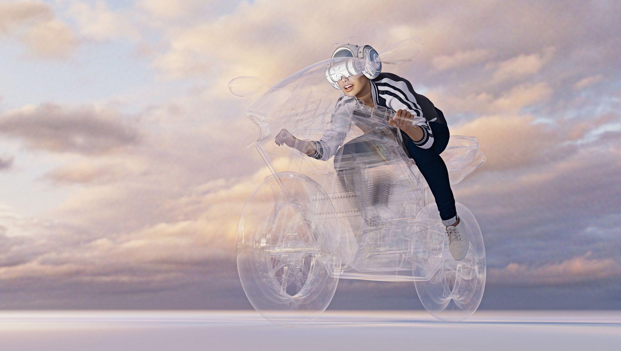 Woman wearing virtual reality helmet riding motorcycle