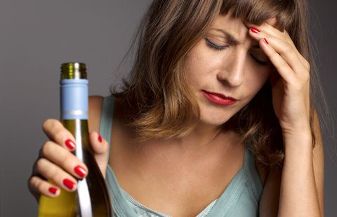 woman with hangover and depression