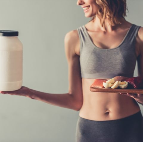 Woman with sport nutrition
