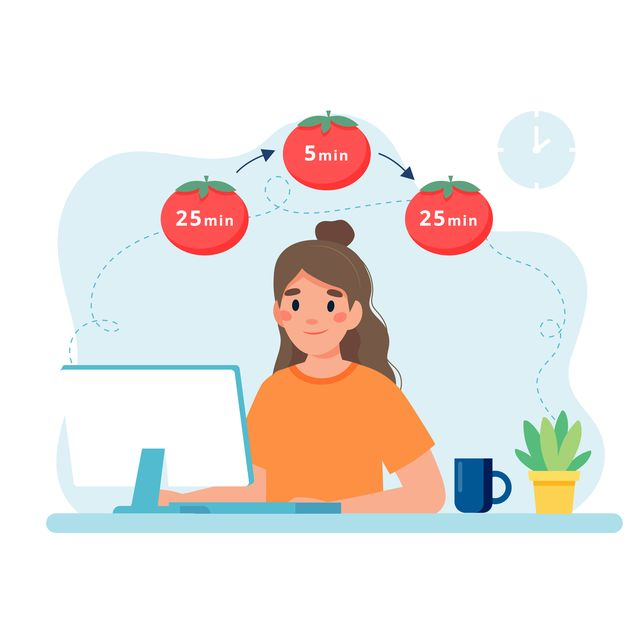 woman working with computer using time management pomodoro technique concept