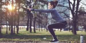 Women exercise at city park