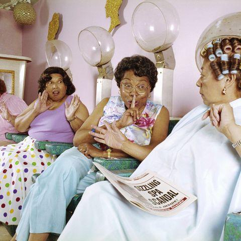 tiktok slang words women gossiping at hair salon
