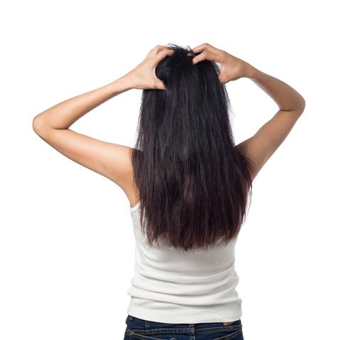 Women itching scalp itchy his hair isolated on white