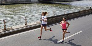 Women running in Paris along Seine