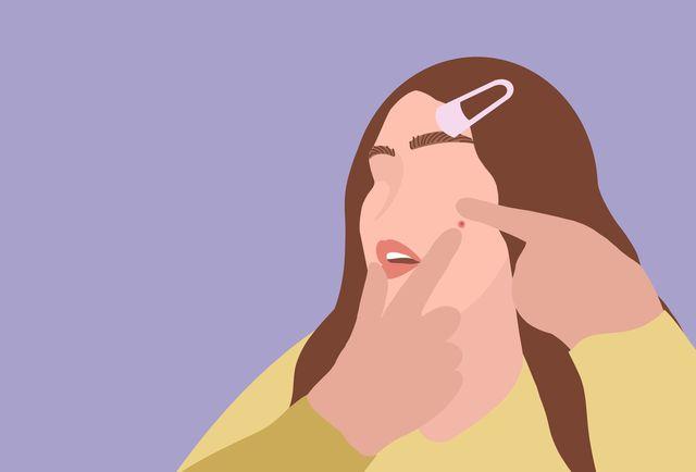 ilustración mujer acné
